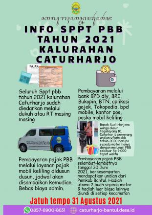 INFO SPPT PBB TAHUN 2021 KALURAHAN CATURHARJO